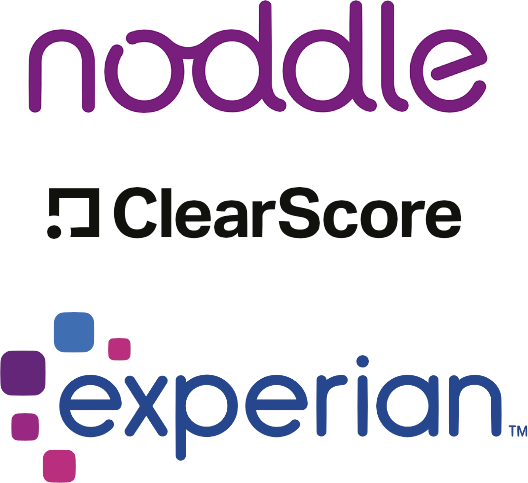 Noddle, ClearScore and Experian logos