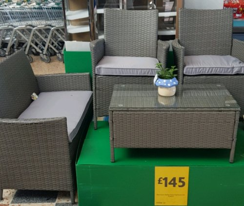 Grey 4 Piece Rattan Garden Furniture Set 163 145