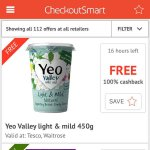 Free Yeo valley from Tesco / Waitrose and checkoutsmart