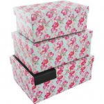 Free delivery on EVERYTHING until 16th July - Floral Nested Storage Boxes - Set Of x3 at The Works (links in post)